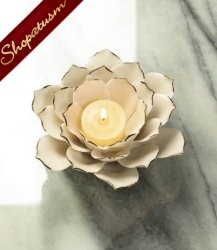 20 Elegant Centerpieces Stoneware White Lotus Candle Holders