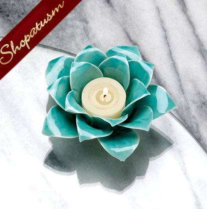24 Centerpieces Blue Lotus Elegant Candle Holders Stoneware