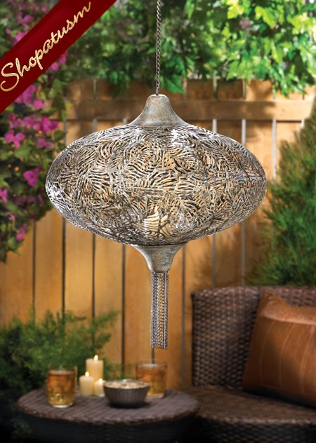 20 Burnished Metal Exotic Plume Hanging Lanterns with Chain