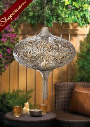 50 Exotic Plume with Chain Wholesale Hanging Lanterns Burnished Metal