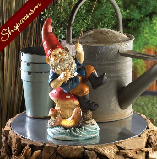 Fishing Gnome Mushroom Stool Garden Yard Solar Statue