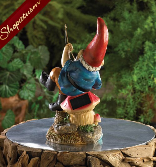 Image 1 of Fishing Gnome Mushroom Stool Garden Yard Solar Statue