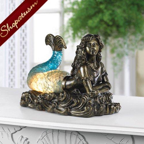 Beautiful Mermaid Bronzed Polyresin Statue Table Lamp