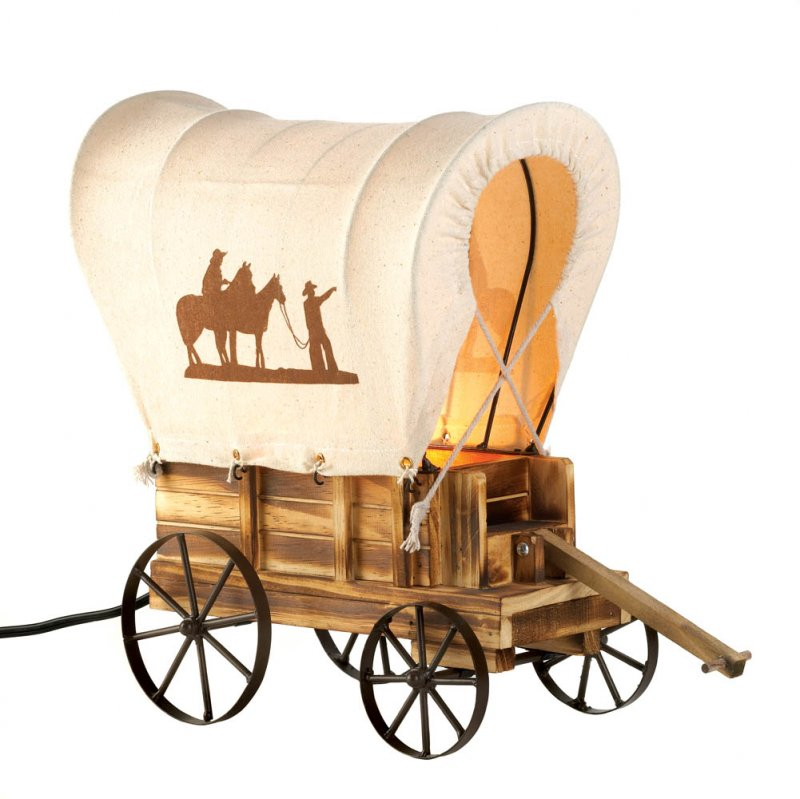 Image 1 of Western Tabletop Wooden Wagon Table Light Nightlight