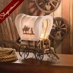 Western Tabletop Wooden Wagon Table Light Nightlight