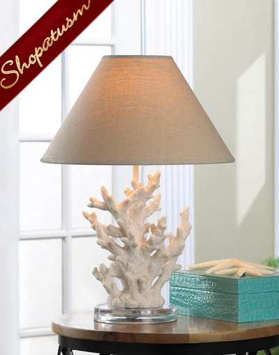 White Coral Table Lamp with Neutral Color Shade