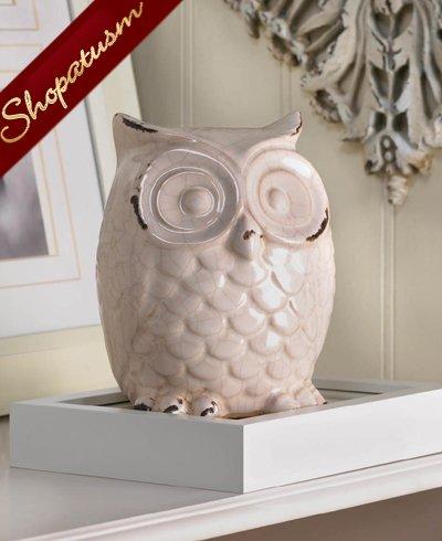 Shabby Distressed White Ceramic Owl Figurine Centerpiece