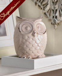 Shabby Distressed White Ceramic Owl Figurine Centerpiece