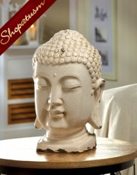 Buddha Head Statue Distressed White Ceramic Centerpiece