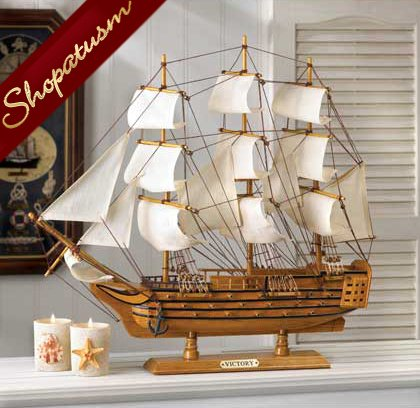 HMS Victory Ship Wood and Canvas Model Schooner
