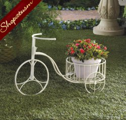 Country White Tricycle Metal Garden Wedding Planter Plant Holder