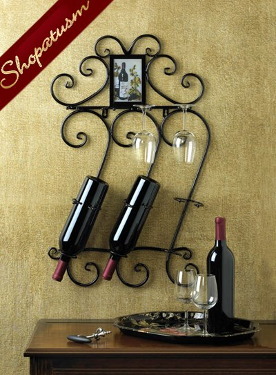 Black Wrought Iron Scrollwork Wall Wine Rack Glass Holder
