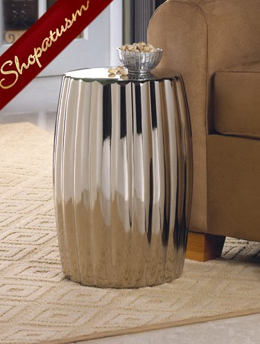 Decorative Silver Ceramic Stool Seat Accent Table Plant Stand