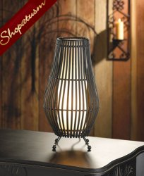 Dramatic Black Metal Slat Hourglass Table Lamp Night Light