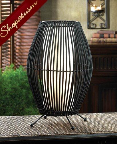 Dramatic Black Metal Slat Bamboo Convex Table Lamp Centerpiece