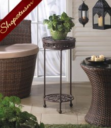Elegant Cast Iron Round Plant Stand with Shelf