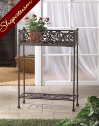 Elegant Long Plant Box Cast Iron 2 Tier Plant Stand and Shelf