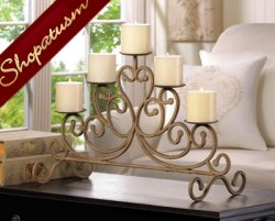 Antiqued Iron Centerpiece Rustic Old World Candelabra