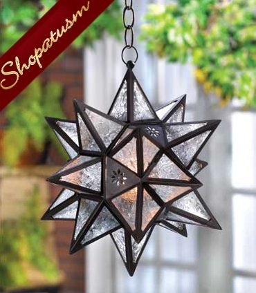 Large Bronze Hanging Lamp Clear Glass Star Lantern