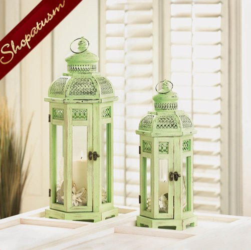 Image 1 of Shabby Distressed Medium Green Tower Candle Lantern Centerpiece