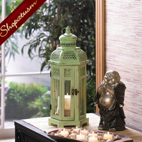 Shabby Distressed Medium Green Tower Candle Lantern Centerpiece