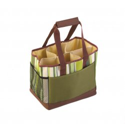 Elegant Green Striped Shopping Bag with Divider