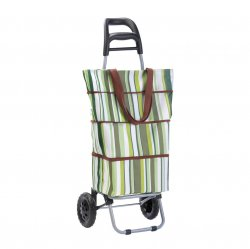 Green and White Striped Insulated Shopping Bag Tote Trolley