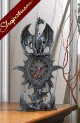 Black Dragon Mantel Clock, Medieval Dragon Clock, Dramatic Dragon Clock