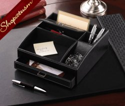 Black Faux Leather Storage Desk Organizer