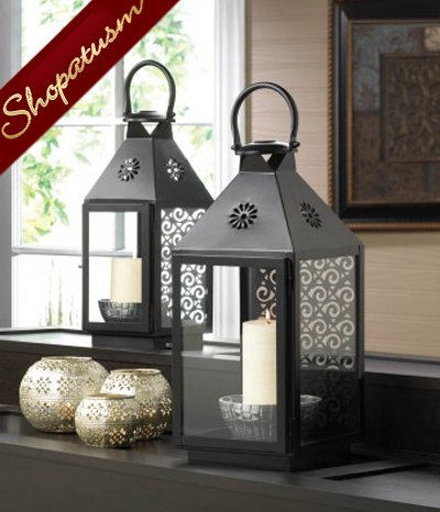 Large Black Centerpiece Swirl Metal Candle Lantern