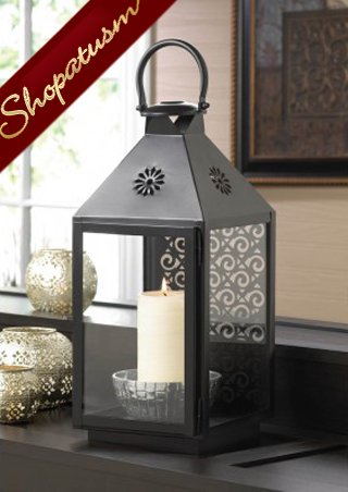 Image 1 of Large Black Centerpiece Swirl Metal Candle Lantern