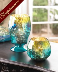 24 Centerpieces Wholesale Exotic Peacock Glass Hurricane Lanterns