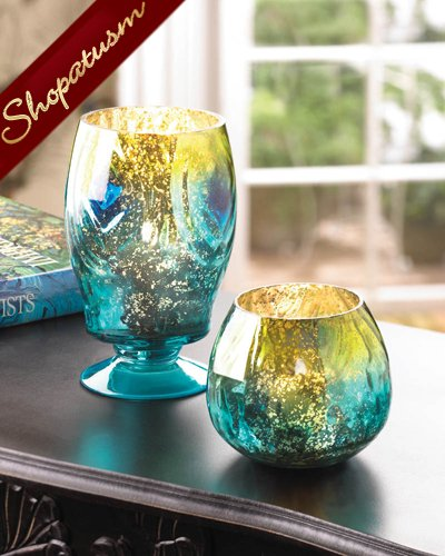 60 Peacock Inspired Globe Candle Holders Iridescent Centerpieces