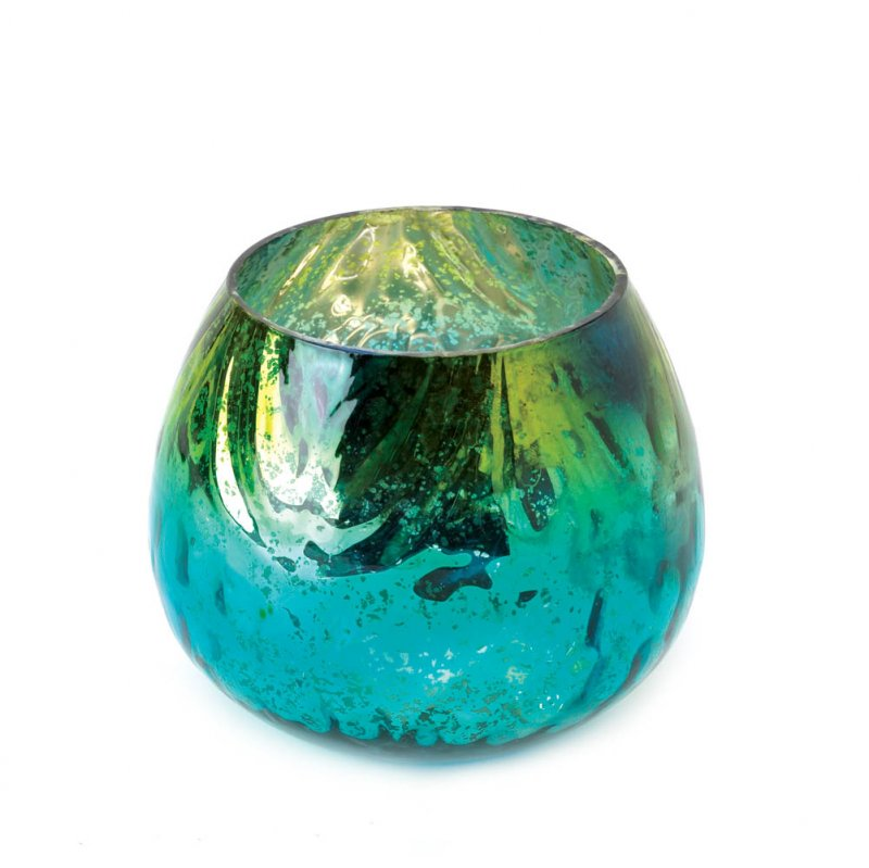 Image 1 of Peacock Inspired Centerpiece Iridescent Globe Candle Holder