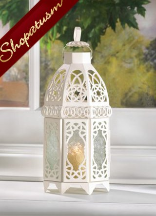 40 Cage Style Candle Lanterns White Lattice Centerpieces Wholesale