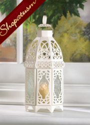 50 Wholesale Cage Style Candle Lanterns White Lattice Centerpieces