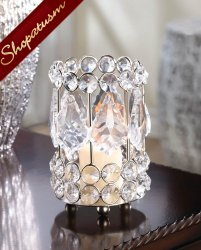 20 Silver Metal Accent Candle Holders Crystal Gems Centerpieces