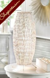 White Woven Metal and Bamboo Table Lamp Centerpiece