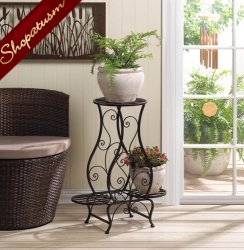 Hourglass Shape Iron Platform Triple Metal Plant Stand