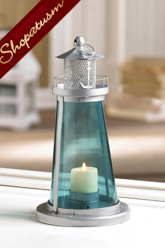 Nautical lighthouse blue wedding candle lantern centerpiece