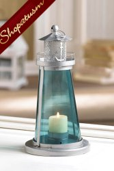 12 Wholesale Lanterns, Blue Lighthouse Lanterns, Nautical Centerpieces, Bulk Lot