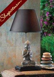 Buddha Figurine Table Lamp Lotus Position With Hemp Shade