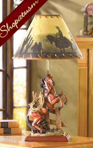 Wild West Horse Figurine Table Lamp Scenic Fabric Shade