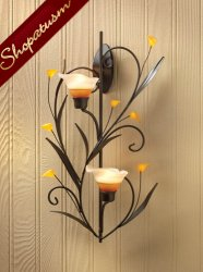 Glass Amber Lilies Floral Candle Holder Wall Sconce Centerpiece