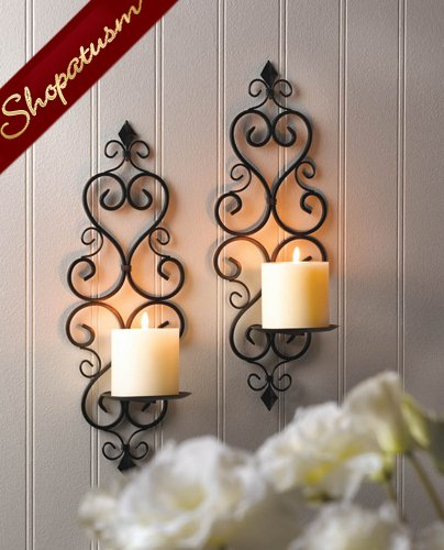 Continental Style Black Metal Candle Holders Pillar Wall Sconces