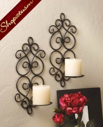 Black Metal Scrollwork Burgeon Pillar Wall Sconce Set