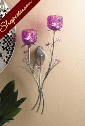 Fuchsia Blooms Wall Centerpiece Silver Floral Wall Sconce