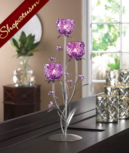 24 Floral Silver Candelabra Large Fuchsia Blooms Wedding Centerpieces