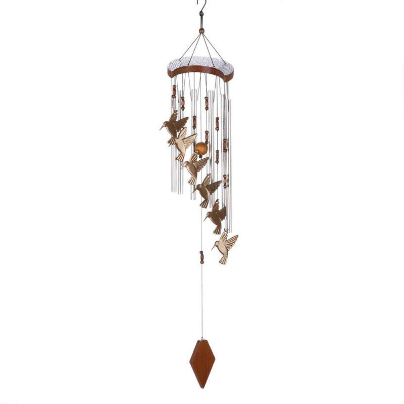 Hummingbird Flutter Aluminum and Wood Garden Wind Chime