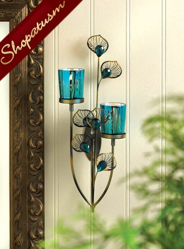 Faceted Peacock Blue Buds Plume Centerpiece Wall Sconce